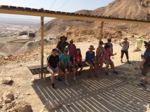 Climbers from our group take a break before reaching a sunny stretch up Masada.