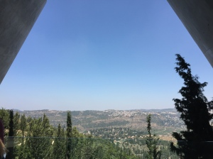The view from the end of the Holocaust Memorial Museum's main exhibit. Looking down upon a beautiful and bright Israel.