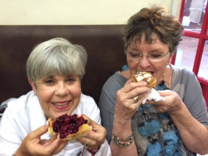 Judie Jacobs and Eleanor Schwartz enjoying waffles